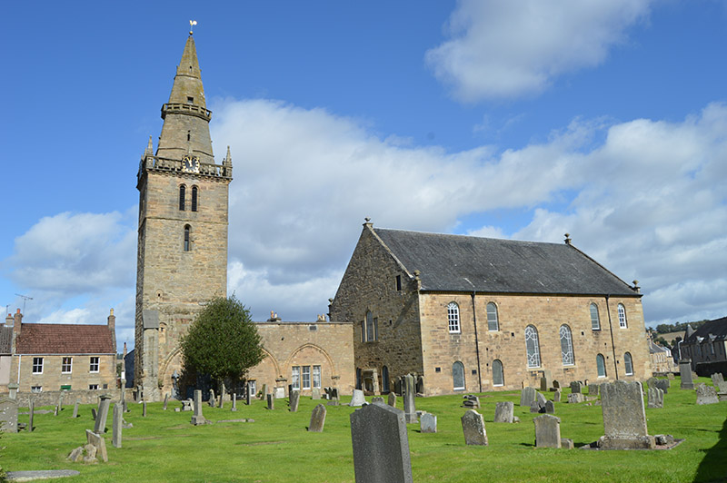 Cupar Old Parish Church, with early 15th century tower and spire of 1620