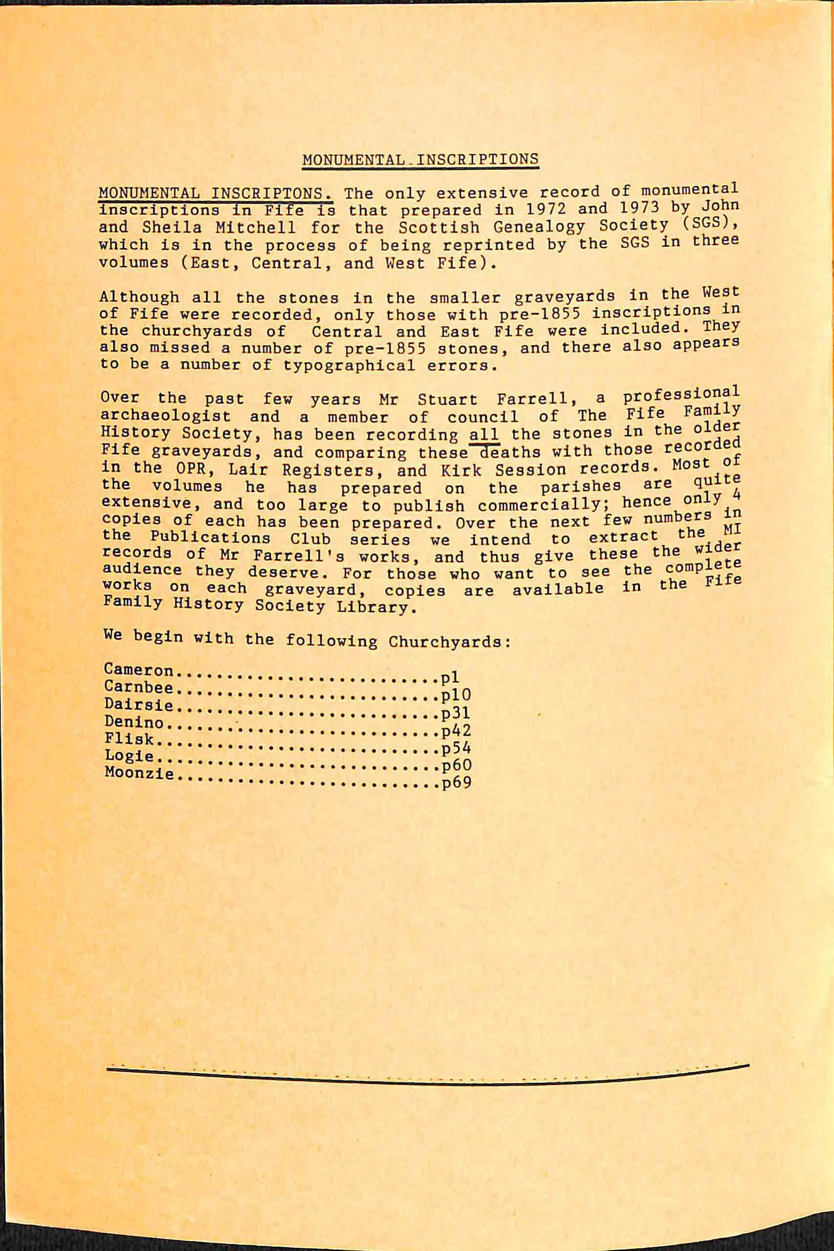 Publication No 15, Monumental Inscriptions ,contents